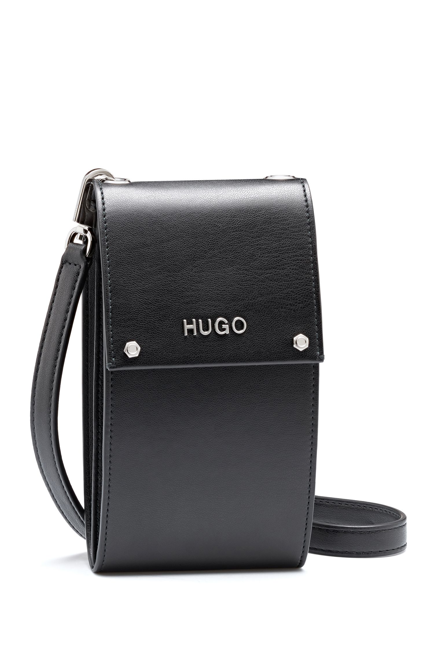 Étui à logo pour téléphone portable en similicuir, Noir