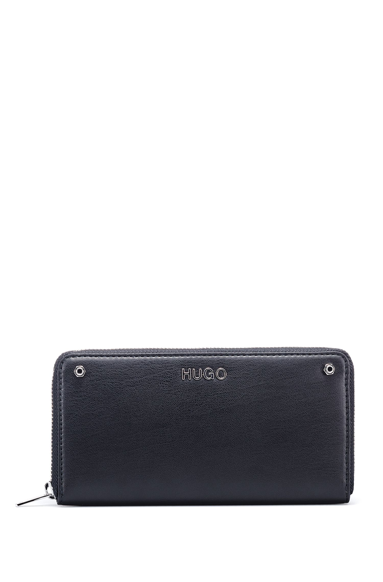 Zip-around wallet in faux leather with metallic logo, Black