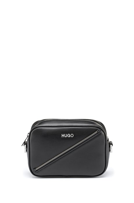 Faux-leather crossbody bag with zip detail, Black