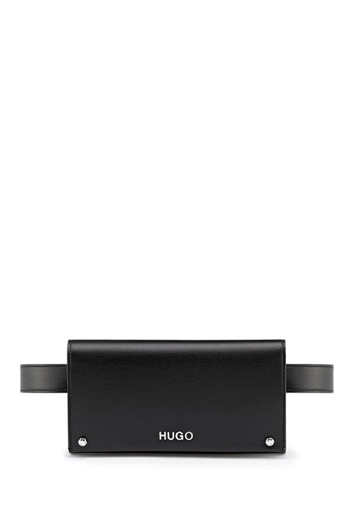 Hugo Boss - Riñonera de piel sintética con piezas metálicas plateadas pulidas - 1
