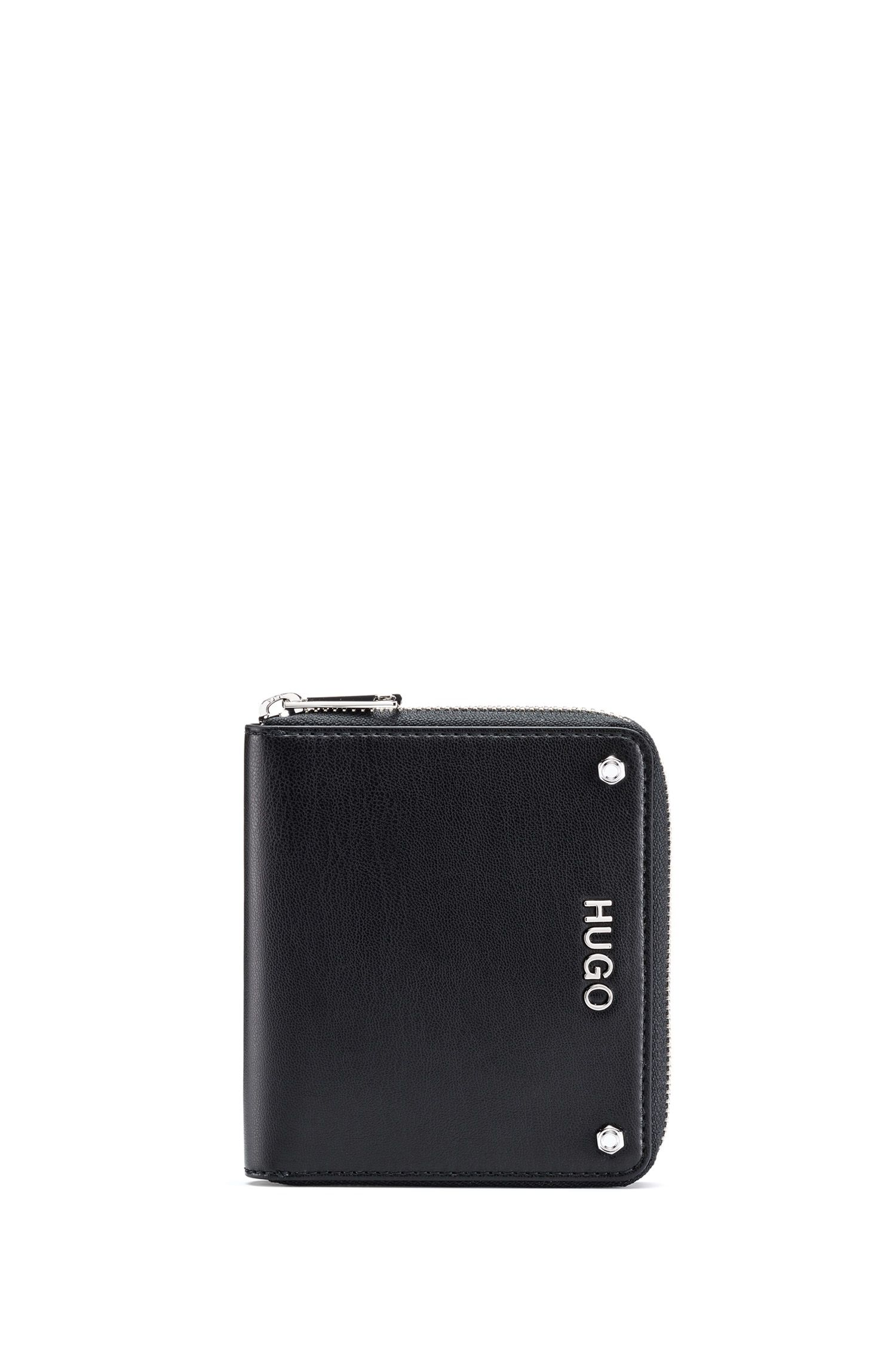 Small zip-around wallet in faux leather with metal logo, Black