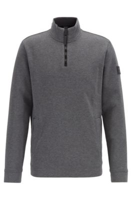 Sweatshirt aus gebondetem Jersey mit kurzem Reißverschluss, Grau
