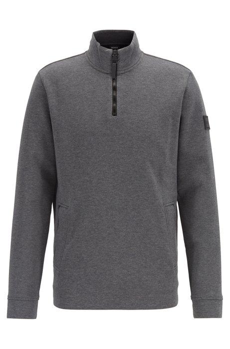 Relaxed-fit sweatshirt in bonded jersey with quarter zip, Grey