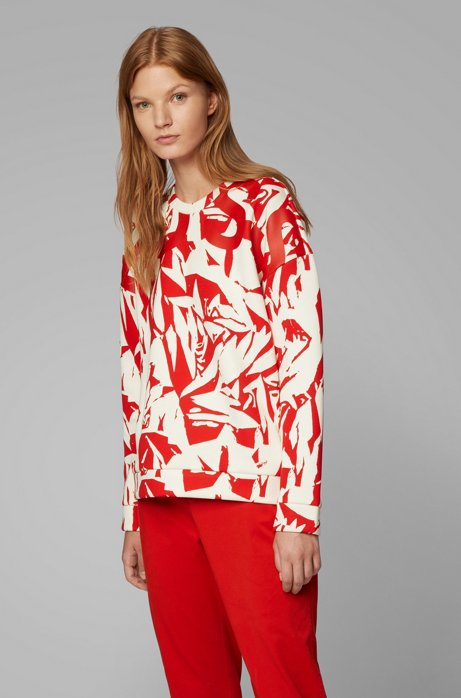 Oversized-fit logo sweatshirt in abstract-print bonded jersey, Patterned