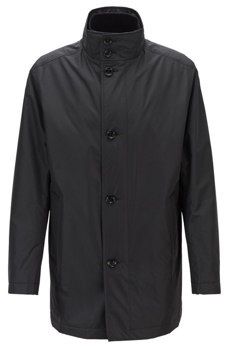 Water-repellent car coat with quilted lining, Black