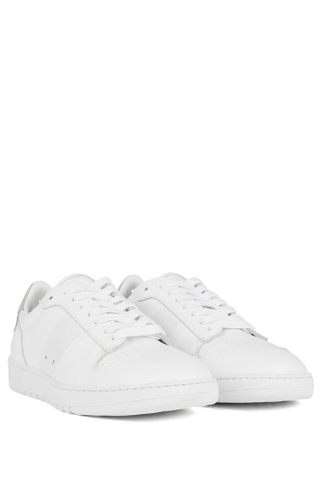 Low-top trainers in calf leather with perforated details, White