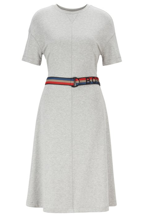 Short-sleeved dress with striped logo belt, Grey