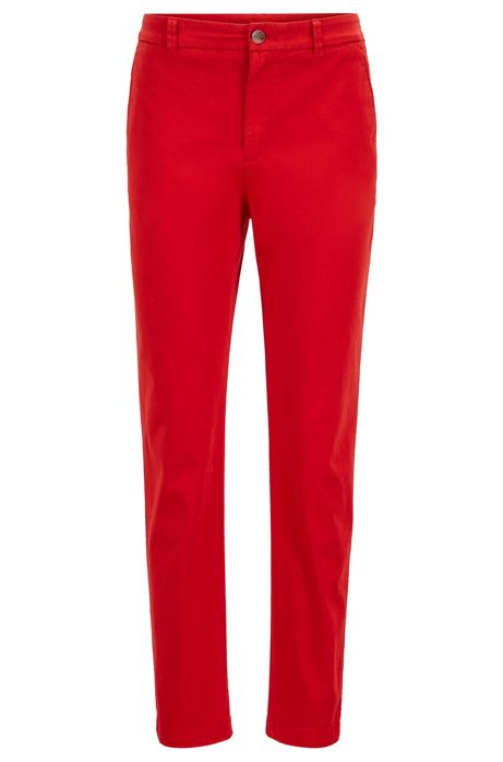 Regular-fit chinos in satin-touch stretch cotton, Red
