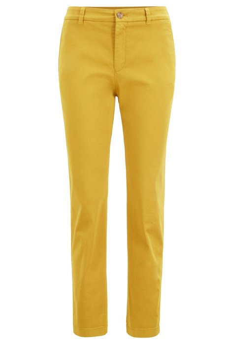 Regular-Fit Chino aus Stretch-Baumwolle mit Satin-Finish, Dunkelgelb