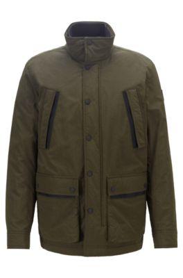 Waterafstotende, gevulde jas van tweekleurig ripstopmateriaal, Groen