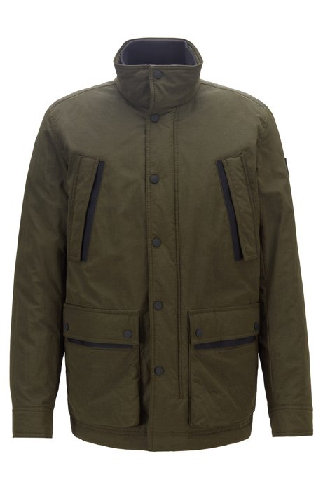 Water-repellent padded jacket in two-tone ripstop fabric, Green