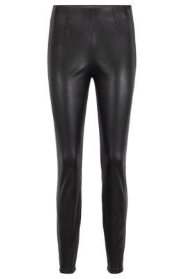 Leggings skinny fit con cuciture laterali sfalsate, Nero