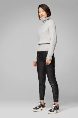 Mode tolle Passform besser Skinny-Fit Leggings aus Kunstleder mit versetzten Seitennähten