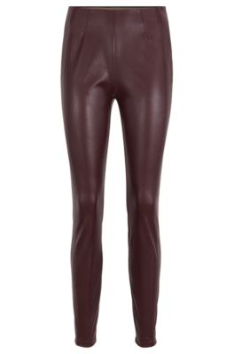 Skinny-fit leggings with shifted side seams, Dark Red