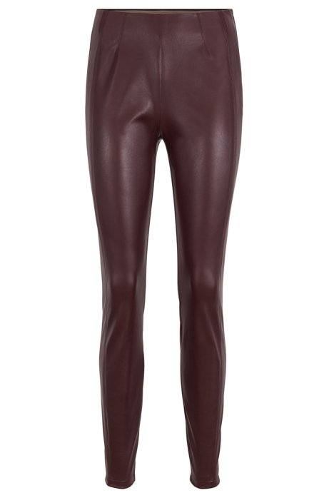 Leggings skinny fit con costuras laterales desplazadas, Rojo oscuro
