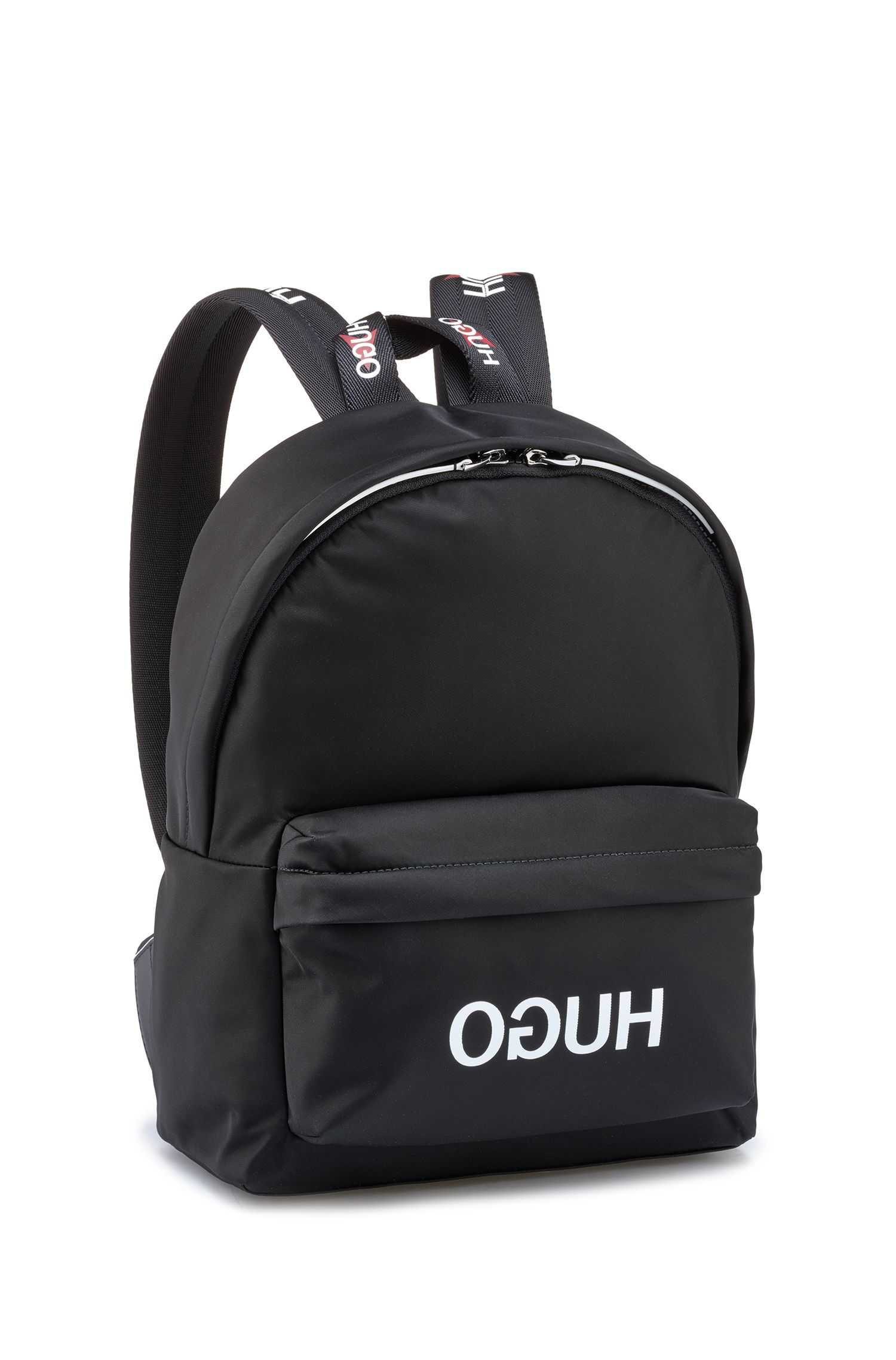 Reverse-logo backpack in nylon gabardine, Black