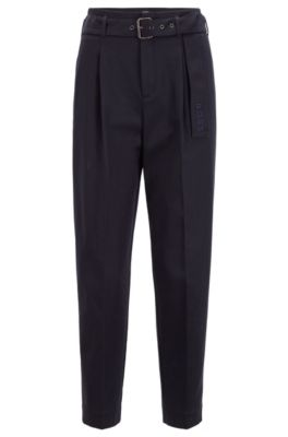 Relaxed-fit paper-bag trousers in stretch twill, Dark Blue