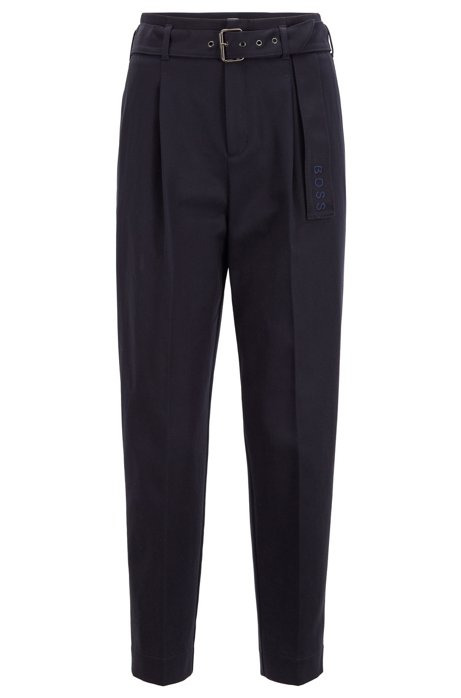 Relaxed-fit broek in paperbagstijl van stretchtwill, Donkerblauw