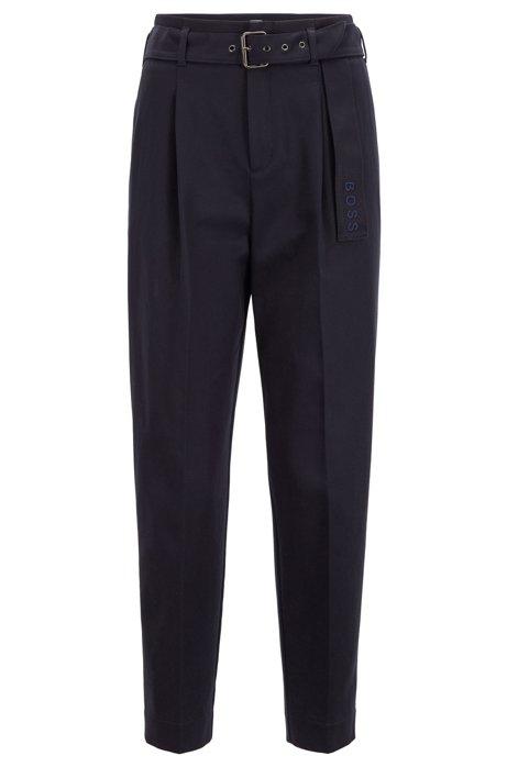 Pantalones paper bag relaxed fit en sarga elástica, Azul oscuro