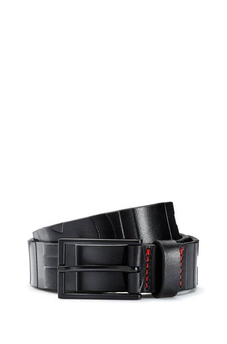 Logo belt in Italian leather with black-varnished hardware, Black
