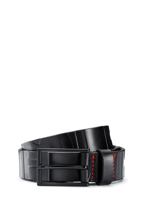 Hugo Boss - Cinturón de piel italiana con logo y herrajes barnizados en negro - 1