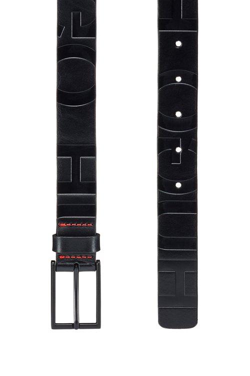 Hugo Boss - Cinturón de piel italiana con logo y herrajes barnizados en negro - 2