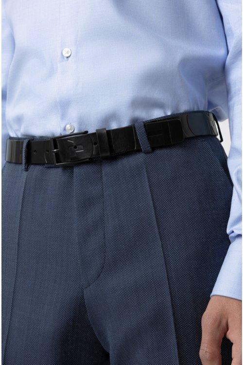 Hugo Boss - Cinturón de piel italiana con logo y herrajes barnizados en negro - 4