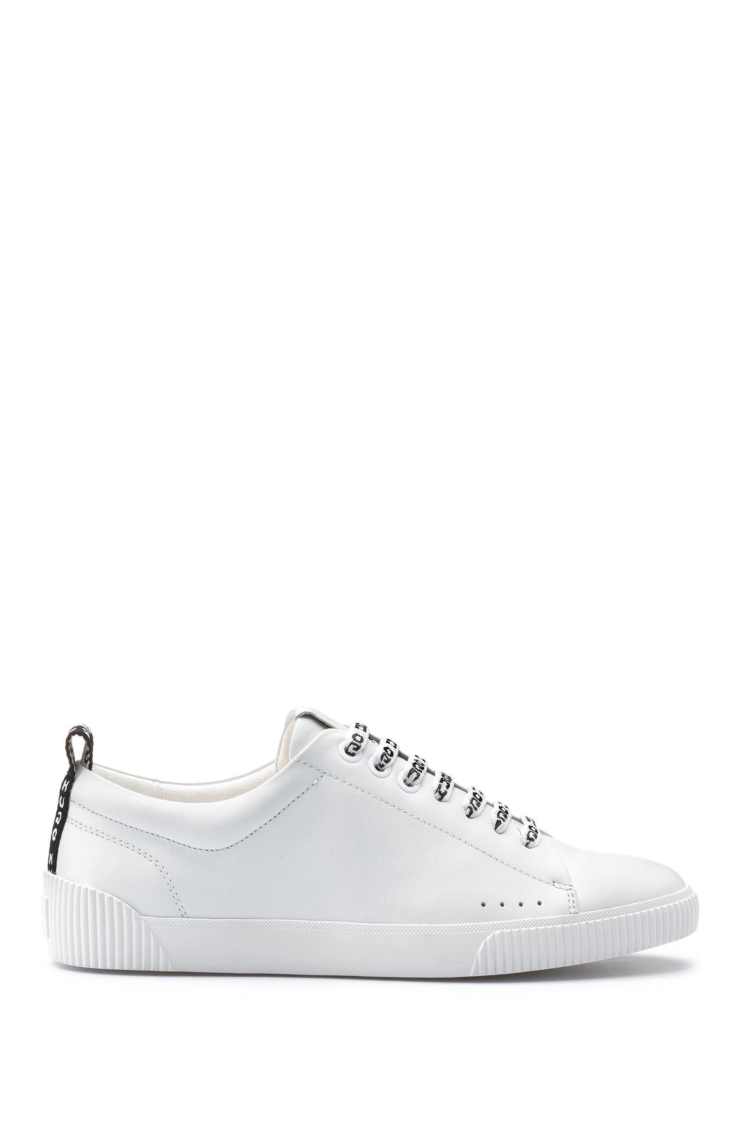 Low-top trainers in leather with logo laces, White