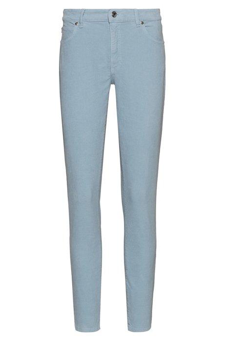 STELLA slim-fit high-waist jeans in corduroy denim, Blue