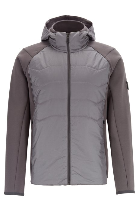 Zip-through sweatshirt with padded front and detachable hood, Anthracite