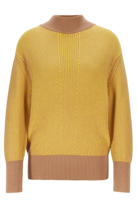 Relaxed-fit sweater with mock neck and contrast trims, Patterned