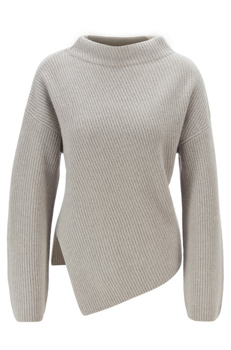 Relaxed-fit cashmere sweater with asymmetrical front, Light Grey