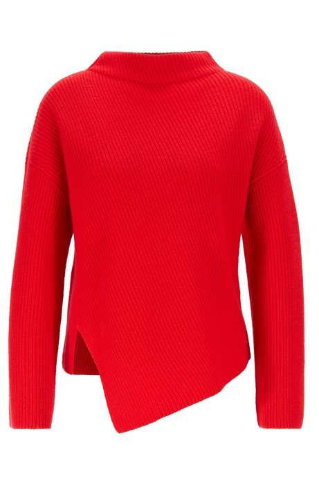 Relaxed-fit cashmere sweater with asymmetrical front, Red
