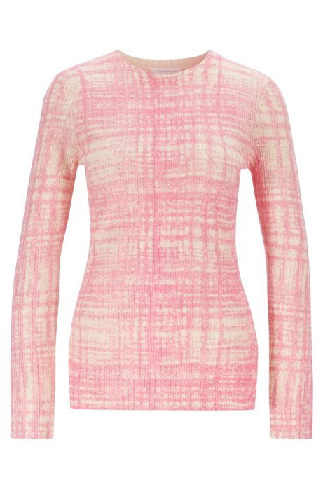 Printed sweater in ribbed virgin wool, Patterned