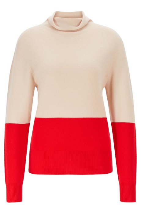 Seamless colour-block sweater in pure cashmere, Beige