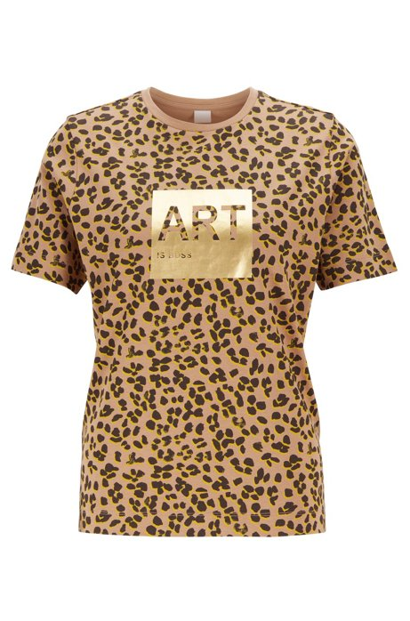 Leopard-print T-shirt in Supima cotton with foil artwork, Patterned