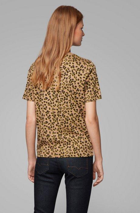 BOSS T Shirt aus Supima Baumwolle mit Leoparden Print und