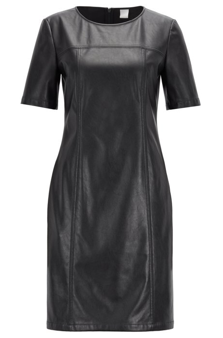 Shirt dress in faux leather with seam pockets, Dark Blue