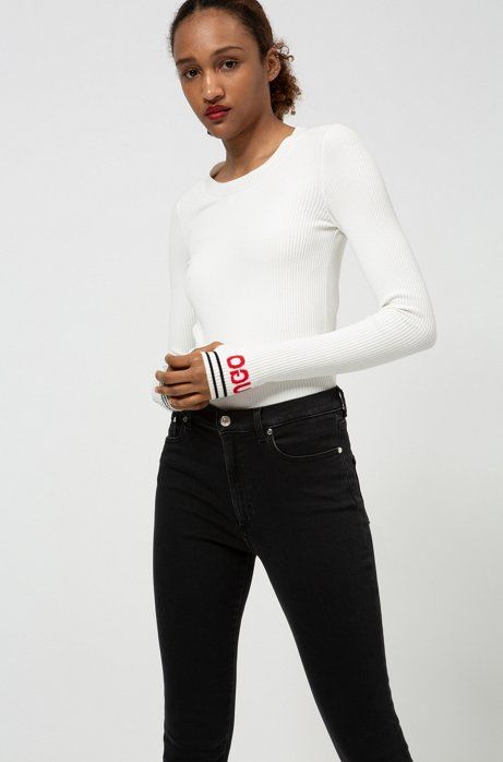 LOU skinny-fit cropped jeans in stretch denim, Anthracite