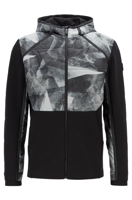 Regular-fit sweatshirt with printed panels and hood, Black