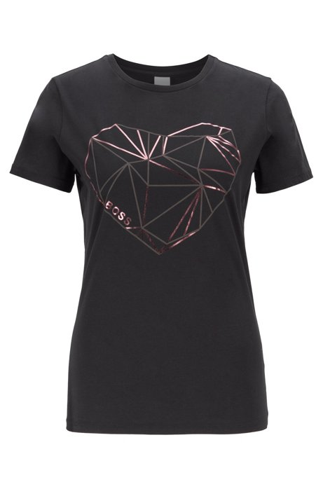 Washed jersey T-shirt with foil-print heart graphic, Black
