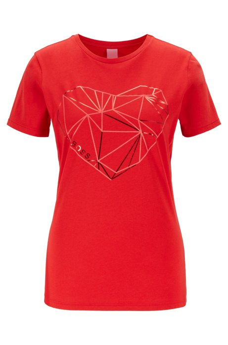 T-shirt van gewassen jersey met hartvormige folieprint, Rood
