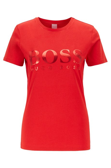 Cotton jersey T-shirt with foil logo print, Red