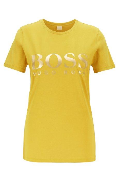 Camiseta de punto de algodón con logo estampado metalizado, amarillo oscuro