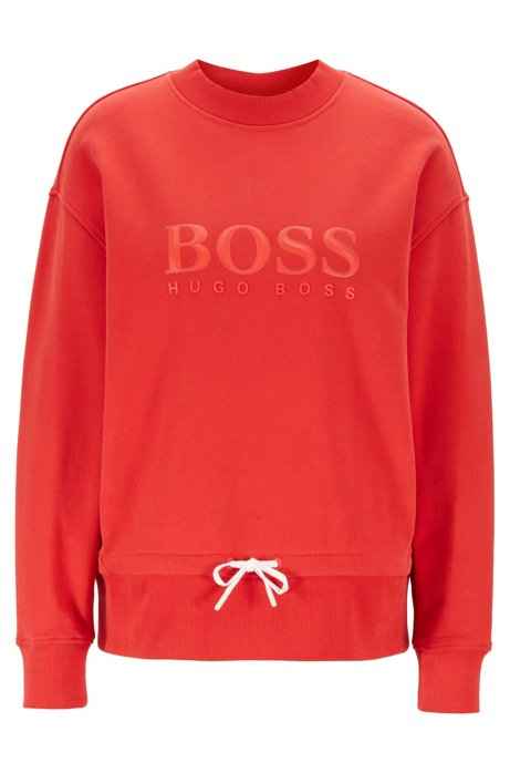 Relaxed-fit sweatshirt in cotton terry with 3D logo, Red