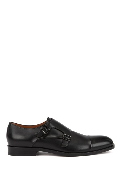 Italian-made monk shoes in vegetable-tanned leather, Black
