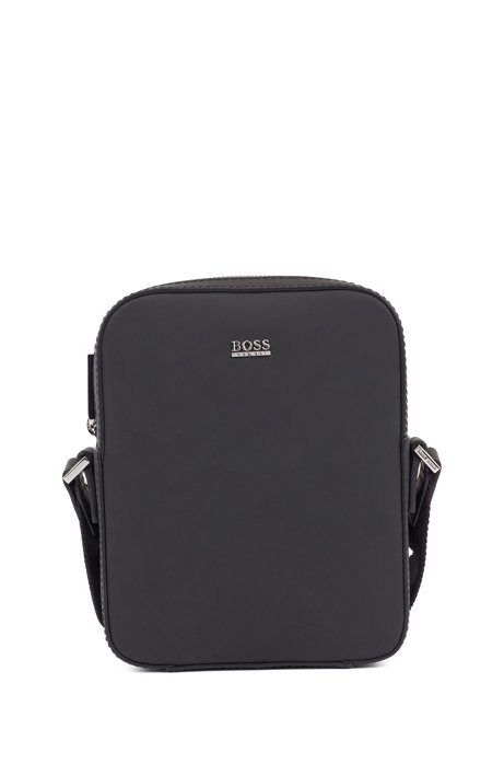 Signature Collection reporter bag in rubberised Italian leather, Black