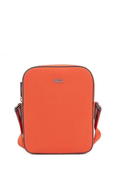 Sac reporter Signature Collection en cuir italien gommé, Orange