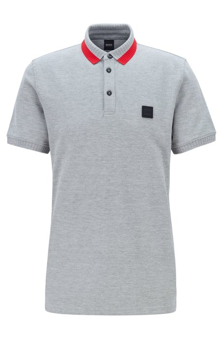 Regular-fit polo shirt in cotton with colourful collar, Open Grey