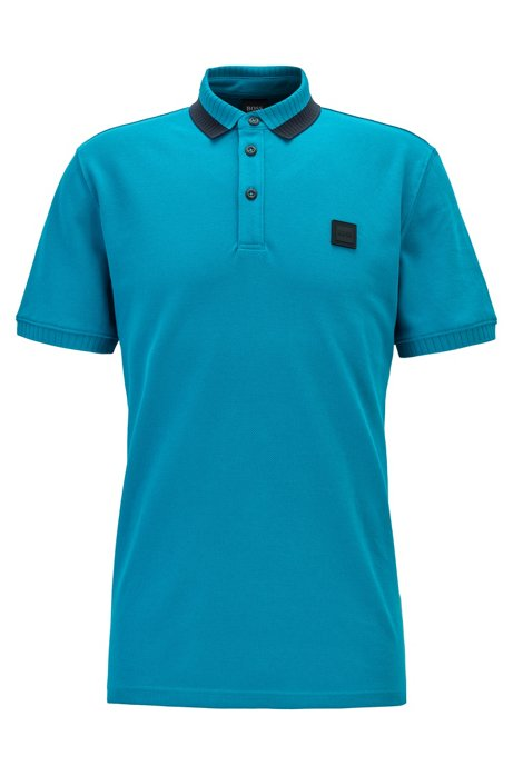 Regular-fit polo shirt in cotton with colourful collar, Dark Blue